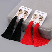 2 Colors Flower Design Bohemia Long Tassels Earrings For Women Fashion Statement Crystal Dangle Earrings Ethnic Jewelry Brincos