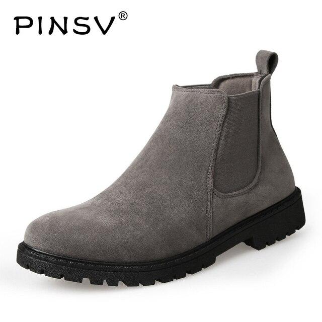 PINSV Chelsea Giày Người Đàn Ông Giày Khởi Động Mắt Cá Chân Người Đàn Ông Bò Da Lộn Giày Da Cho Nam Giới Hợp Thời Trang Mùa Thu Giày Bota Masculina