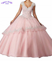 Tulle Homecoming Dress Ball Gown Lace Appliques Beaded Prom Evening Gown for Women Formal Lace Up Ruffles Pageant Gown HD03