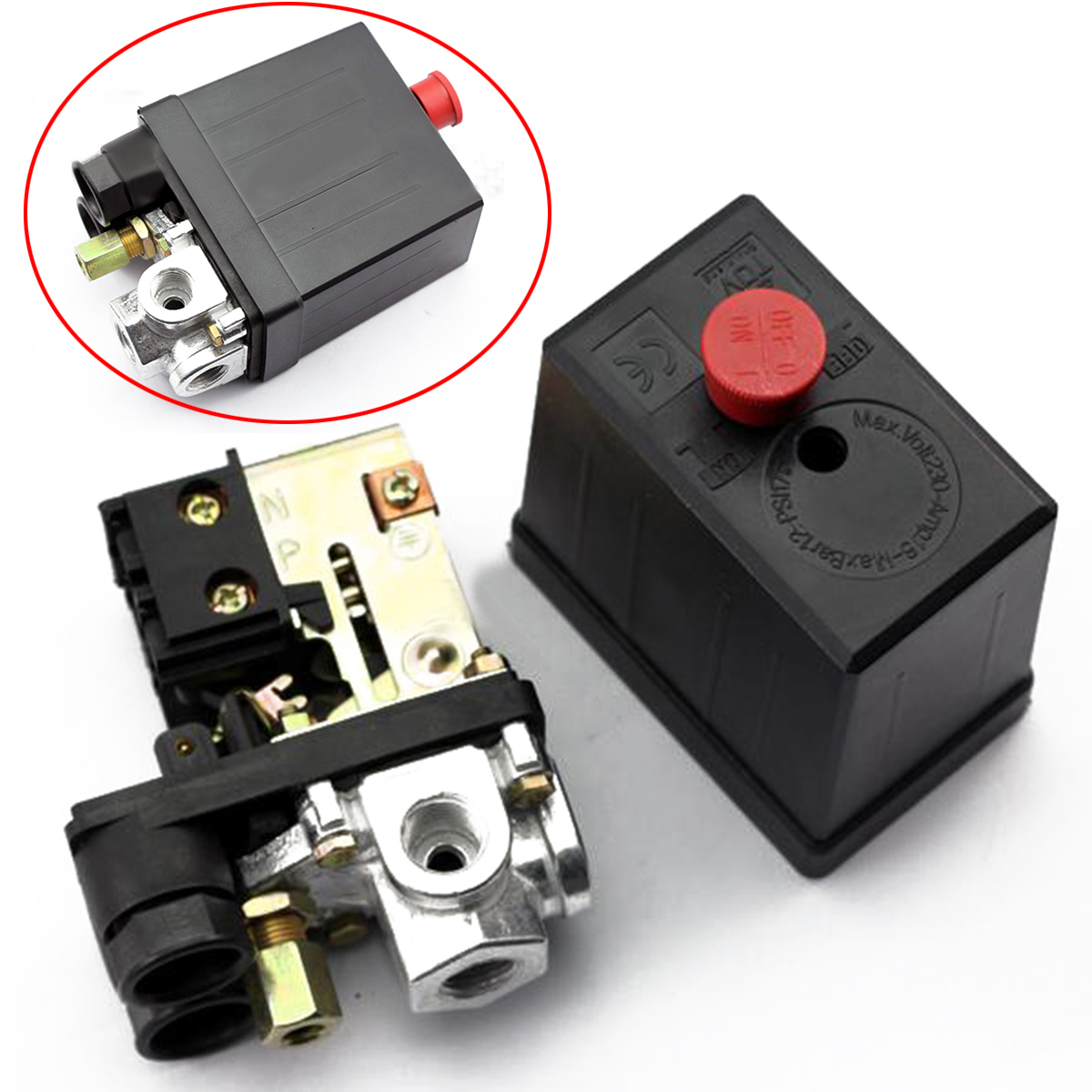 High Quality Durable Mayitr Air Compressor Pressure Switch 240V 16A 90 PSI -120 PSI Heavy Duty Red ON/OFF Switch Control Valve vertical type replacement part 1 port spdt air compressor pump pressure on off knob switch control valve 80 115 psi ac220 240v
