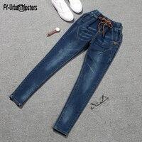 Korean Jeans Woman Lace Up Boyfriend Jeans Women Harem Pants Stretch Jeans Femme Long Pants Denim Trousers Women Plus Size 5XL