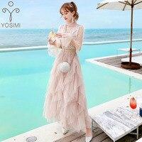YOSIMI 2018 Summer Two Piece Set Suit Women Dress Vintage Long Sleeve Top +Mesh Skirt Cascading Cake Dress 2 Piece Set Women