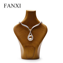 FANXI Wooden Jewelry Display Portrait Neck Necklace Holder Support for Shop