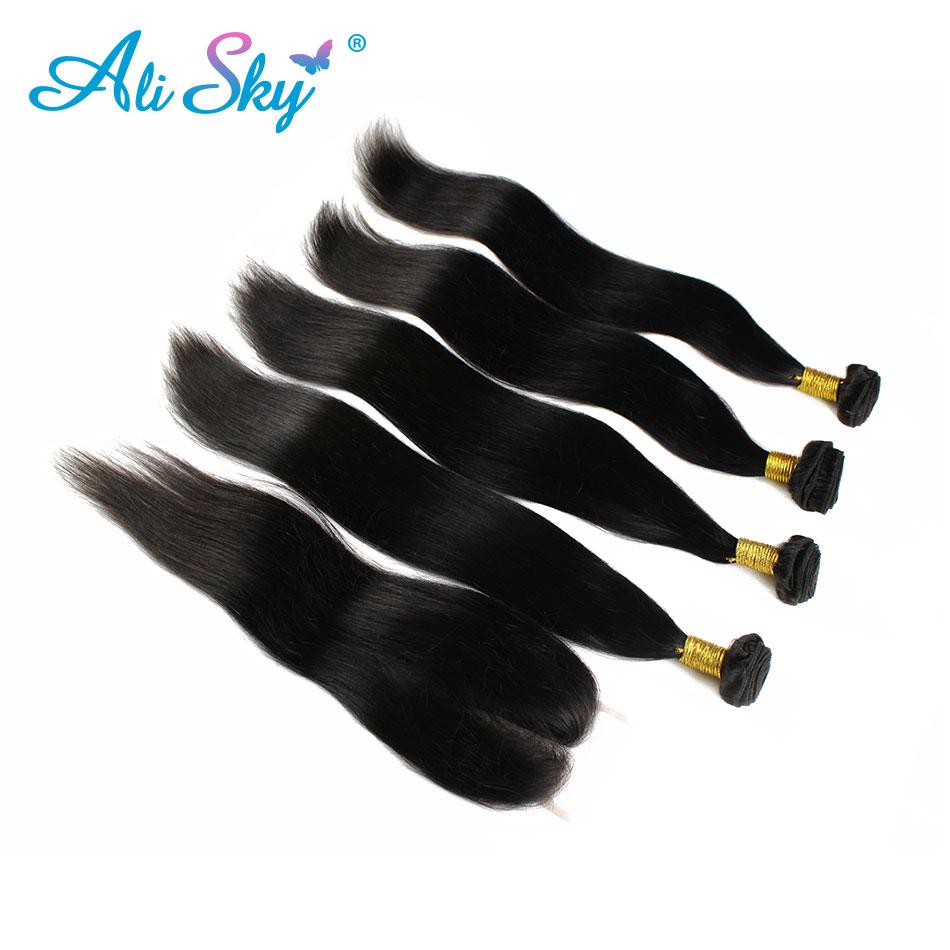 Rambut lurus Brazil 4 kumpulan dengan 1pcs penutupan renda atas 100% - Rambut manusia (untuk hitam)