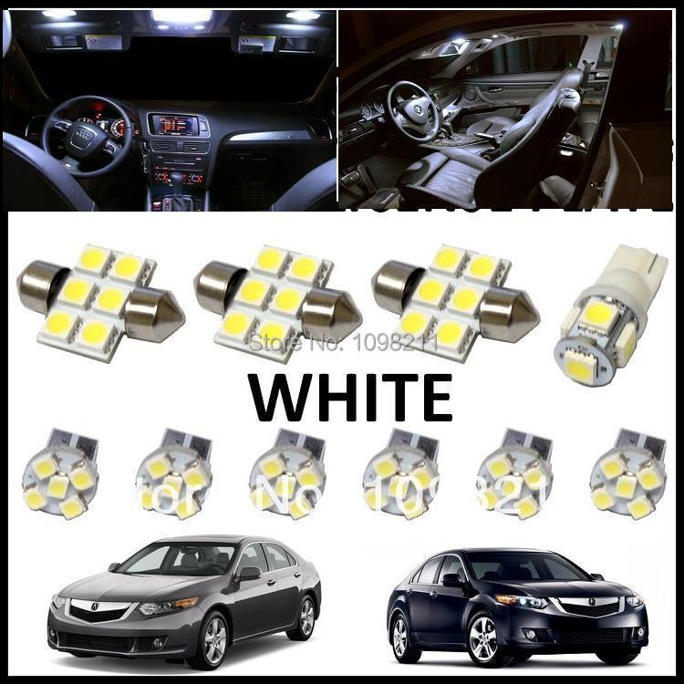 10PCS Set White LED Lights Interior Package Kit For Acura TSX 2009-2013 ...