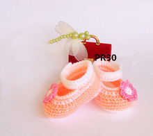Crochet baby girl shoes, Peach handmade Ballerina Newborn Shoes with nice pink flower, Slippers