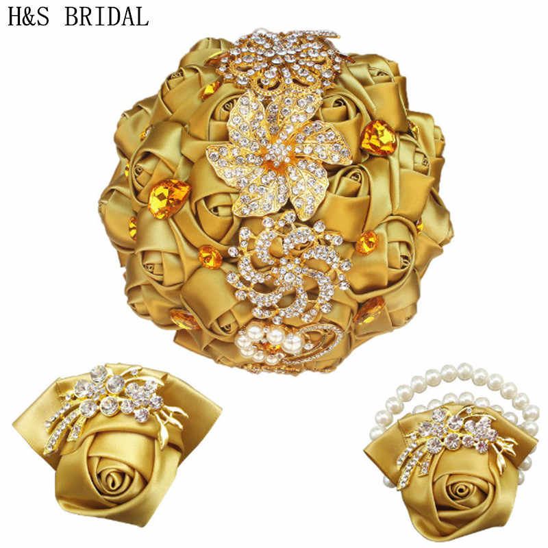 H&S BRIDAL Gold Crystals Bridal Bouquet Wedding Flowers Artificial Wedding Bouquets buque de noiva 2019 Wedding Accessories Set