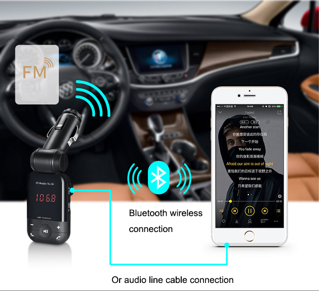 New 12V-24V auto stereo bluetooth hands free car kit FM transmitter U disk TF card MP3 music player voiture bluetooth telephone 11