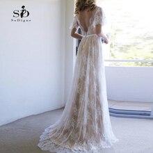 Robe de mariée informelle Champagne, avec dentelle, col en V, 2019 V, robe de mariée romantique