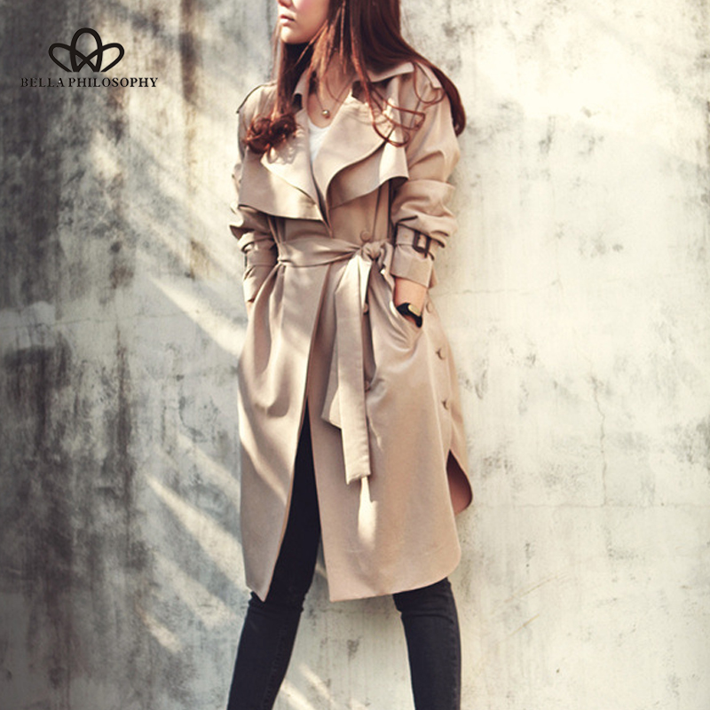 Bella Philosophy 2019 Spring Autumn Casual women khaki   Trench   Coat long Outerwear loose clothes for lady with belt