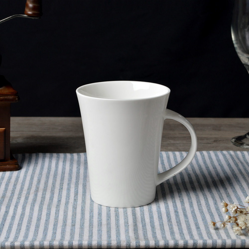 Us 355 0 New Bone China Trumpet Shape Coffee Mug Ceramic Super White Mugs And Cups Porcelain Plain 48pcs In From Home