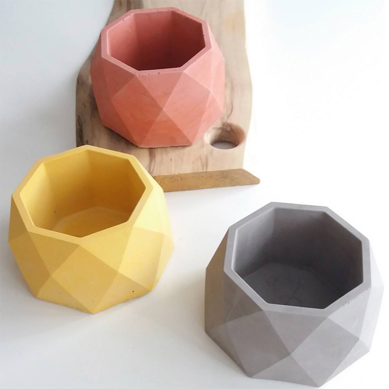 Concrete Mold Large Geometric Design Diy Gardening Flower Pot Cement Mold Candle Cup Succulent Plant Potted Clay Gypsummold