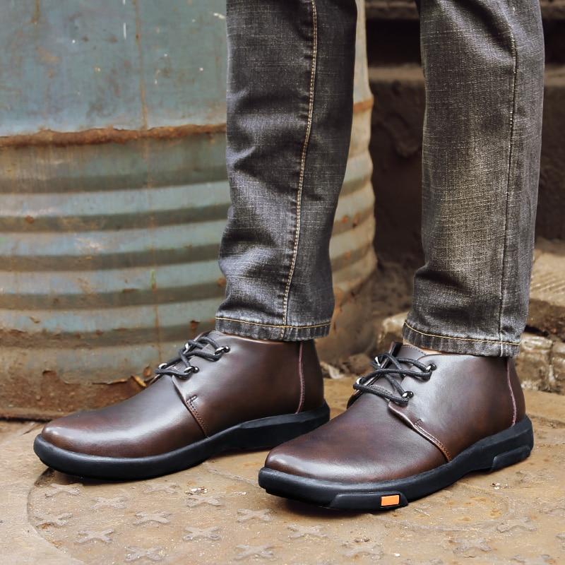 2018 359 noir Fur Chaussures Véritable Casual Hommes À Automne Black Fur Xx Lacets Bottes Cuir brown Hiver En marron Mode Cheville 16rpATqw1n