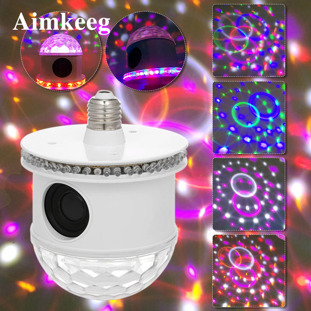 E27 Mini Bluetooth RGB Stage Light Sound Actived Auto Rotating Magic Disco Ball DJ Light LED Stage Effect Lighting Six Mode