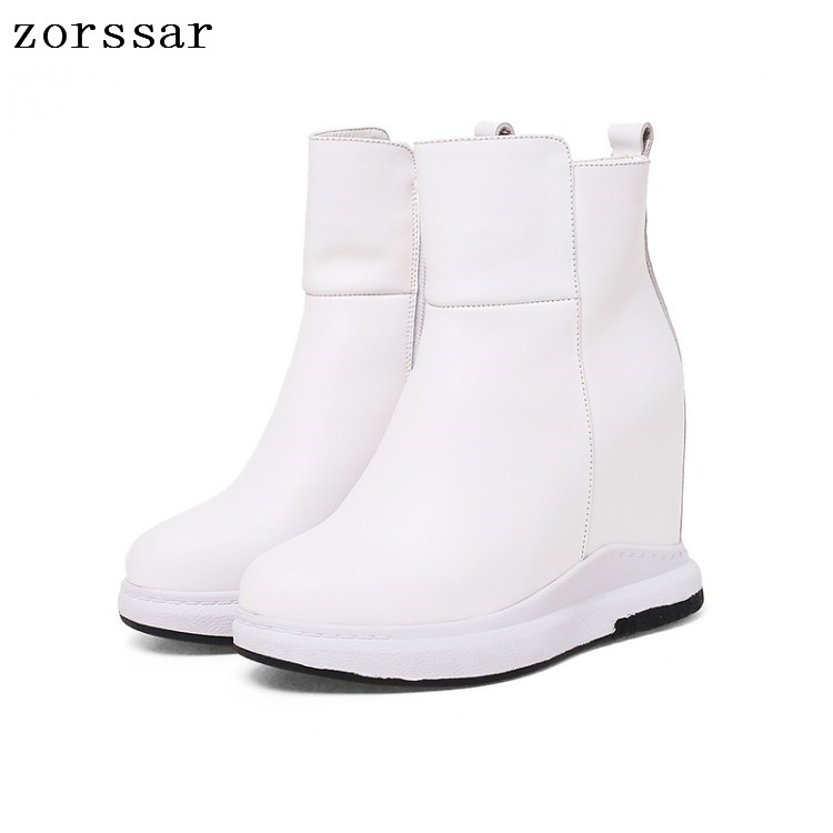 {Zorssar} Fashion womens snow boots Genuine Leather height increasing boots women high heel ankle boots Platform wedges shoes czrbt portable solo natural genuine cow leather women height increasing 3cm heel 4cm boots ladies fashion ankle boots walking