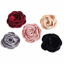 5pcs/lot 5 Colors 3 Satin Burned Flowers For Baby Headband Decoration Photography Props Headwear Girls Hair Accessories