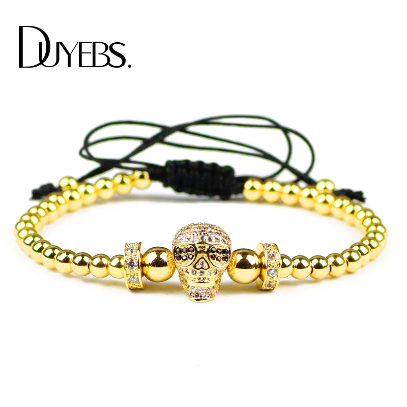 DUYEBS Fashion Men Skull Charms Bracelet 4mm Gold Color Copper Bead Zircon Lucky Braided Rope Women Bangle Jewelry Gift Dropship ...