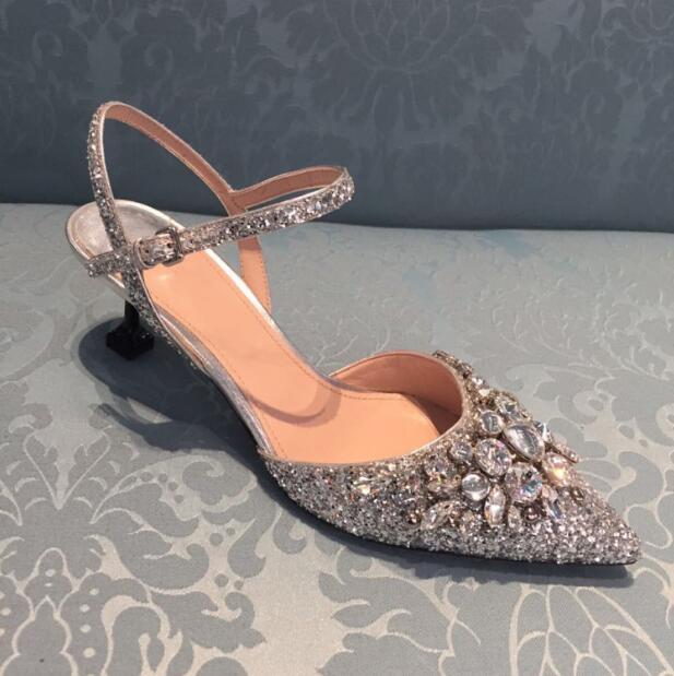 Stilettos women Spring Summer high heel slingbacks shoes lace up heels pointed toe crystal design women glitter silver shoes unique design women 2018 spring summer