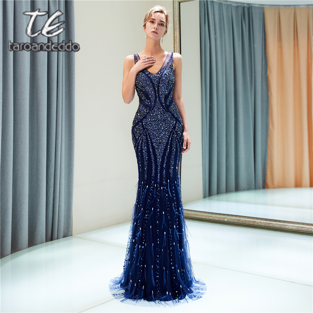 V Neck Mermaid Navy Blue Tulle   Prom     Dresses   Sleeveless Zipper V Back Crystals Evening Formal Party   Dress   Vestido De Festa