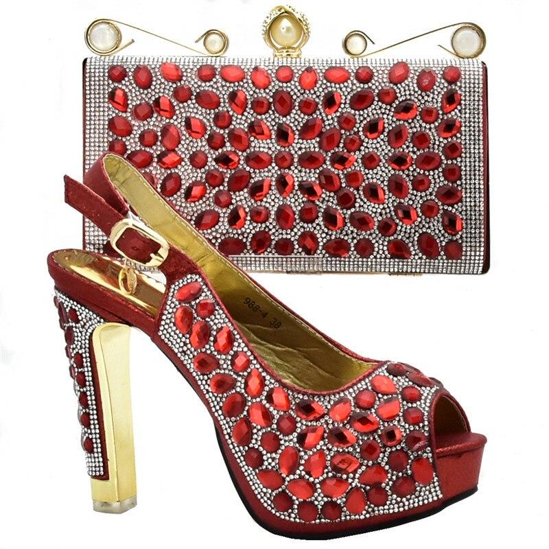 De A La Conjunto Italiano Azul Para Y Boda Fiesta fuchsia Tacones Último oro Alta púrpura Zapatos Bolso Bolsa En Zapato Calidad Juego rojo qd576fxY