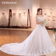 VENSANAC 2018 Sequined Sweetheart Ball Gown Lace Appliques Wedding Dresses Spaghetti Straps Court Train Bridal Gowns