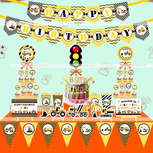 Best Children baby shower Excavator themed Birthday party Bunting Happy  PU44