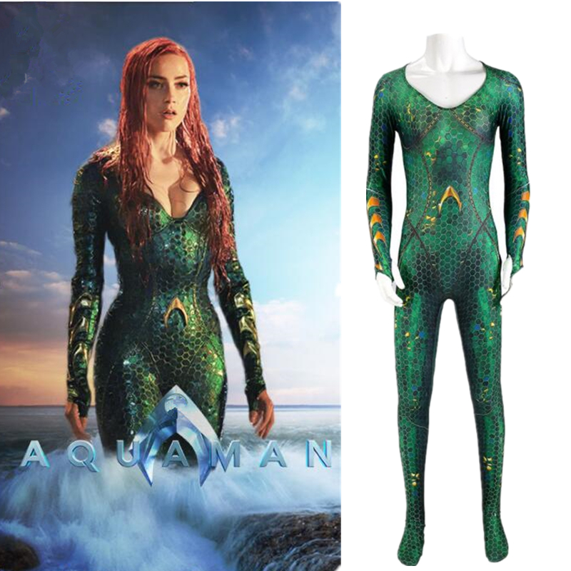 Women Aquaman Mera Cosplay Costume Queen Jumpsuit Bodysuit Zentai Superhero Suit