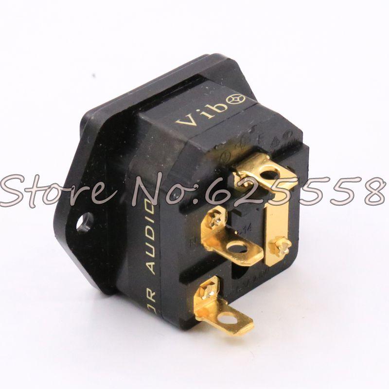 1piece hifi Audio IEC Inlet Socket Gold Plated Fuse Socket