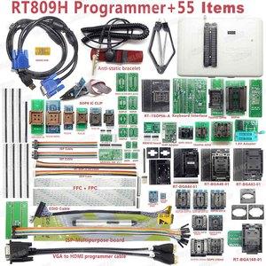 Image 1 - 100% Original RT809H EMMC Nand FLASH  Programmer +55 Items with BGA48 BGA63 BGA64 BGA169 Adapter RT809H EMMC Nand Flash TSOP48