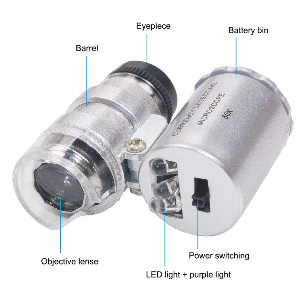 60x Mikroskop Beleuchtet Lupe Glas Juwelier Lupe Objektiv Mit Led Uv Licht Silber Werkzeuge Messung Und Analyse Instrumente