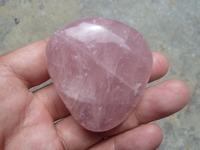 93g NATURAL Polished Freeform Rose Quartz Crystal Palm Worry Stone Q304