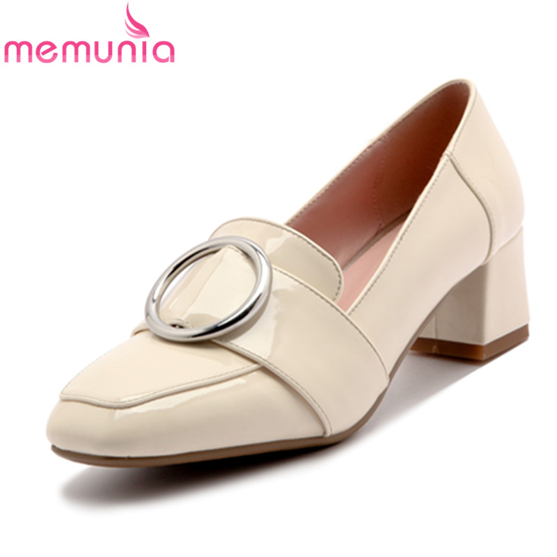 MEMUNIA 2017 spring autumn single shoes women pumps fashion med heels shallow single shoes  college style big size 34-43 memunia 2017 fashion flock spring autumn single shoes women flats shoes solid pointed toe college style big size 34 47