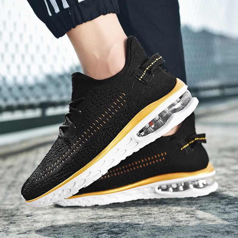 Amorti Homme Air Course red Souple white De yellow Chaussures Black Confortables Hommes Mode Marche Adulte Dentelle Respirant Non slip Sneakers Pour qBXBY0