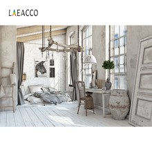 Laeacco Gray Old Rural House Furniture Home Decor Baby Pet Portrait Interior Photo Backgrounds Photo Backdrop For Photo Studio