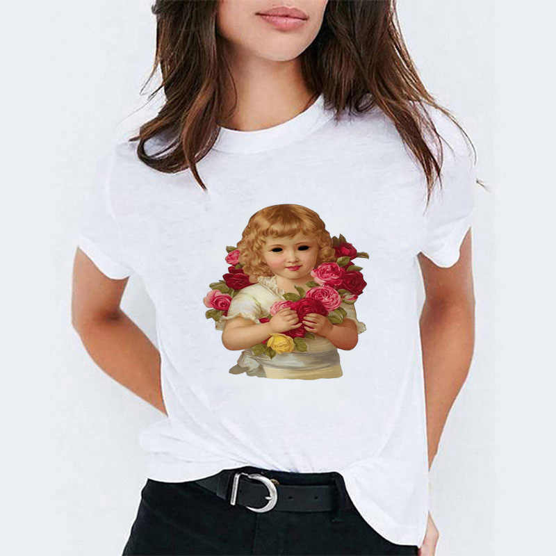 Белый корейский стиль милый ангел топ женские футболки vogue футболка забавная Эстетическая одежда Графические футболки женская футболка Tumblr