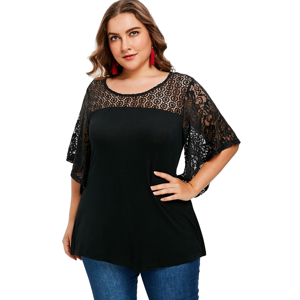 2018 Summer Shirt Plus Size T Shirt with Lace Insert Women Summer Top Plus Size Women Clothing 4XL 5XL