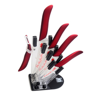 XYJ Brand 6 5 4 3 Acrylic Kitchen Knife Holder Peeler Red Handle Top Quality Ceramic