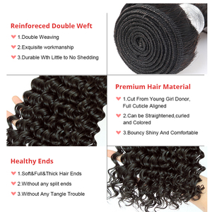 Image 5 - Deep Wave Bundles With Closure Brazilian Virgin Hair Weave 2 and 3 Human Hair Bundles With Closure Dolago Hair Curly Products