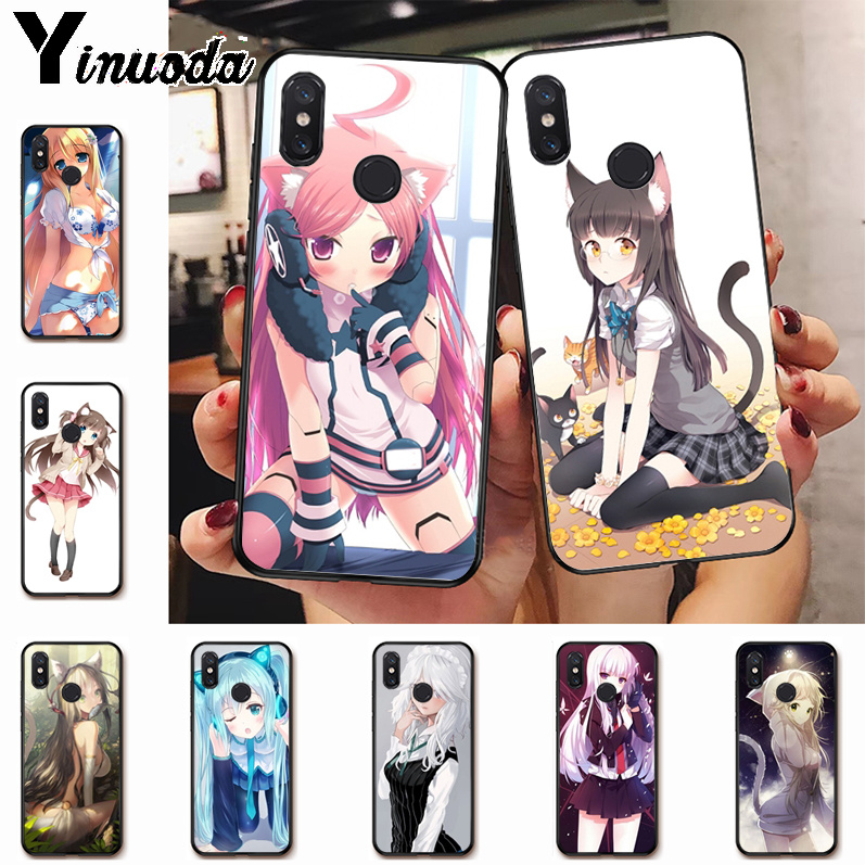 Ynuoda Sexy cartoon the anime kawaii Girl Cat Diy Printing Drawing case for xiaomi mi 8se 6 note2 note3 redmi 5 plus note5 cover