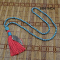 Natural Stone Turquoise Sway long Necklace Classic turquoise Bead Tassel Necklace boho necklace for women Free ship