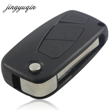 Jingyuqin для Fiat 3 кнопки Punto Ducato Stilo Panda Bravo темно-флип fob черное 3 btn складной дистанционную Оболочки случае крышка без логотипа