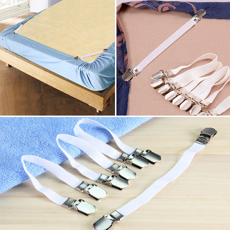 2017 New 4pcs Grippers Bed Sheet Fasteners Clip Cover Elastic Straps Bedding Clips Holders Useful Accessories