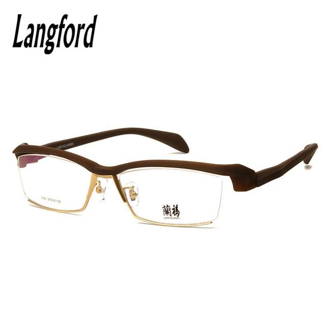 48417f3437b LANGFORD optical eyeglasses frame men browline flexible prescription  glasses Plastic titanium Japan spectacle frames designs1131