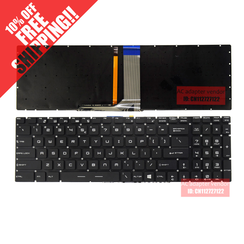 English  FOR MSI GS60 GS70 GT72 GS60-2PC GS60-2PE keyboard backlit US P/N 143422BK1 UI for msi gs70 gs60 keyboard backlit c shell palmrest