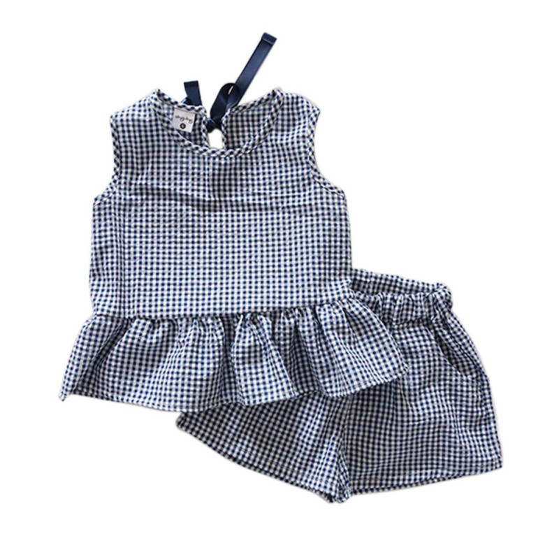 ba373e7df4e58 Summer Style Baby Girls Suits Plaid Lattice Ruffles Vest Sleeveless Shirts  + Shorts 2pcs Kids Clothes Suit-in Clothing Sets from Mother & Kids on ...