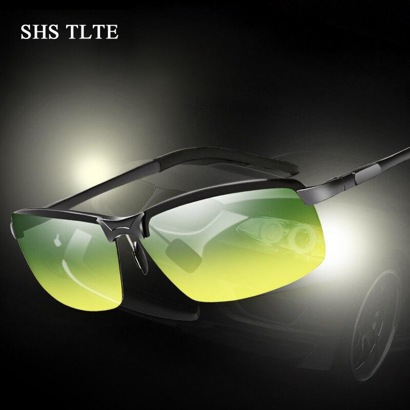 SHS TLTE Men Polaroid Brand Sunglasses Day and Night Driving Sunglasses Blocking glare Night Vision 100% Polarized Sunglasses