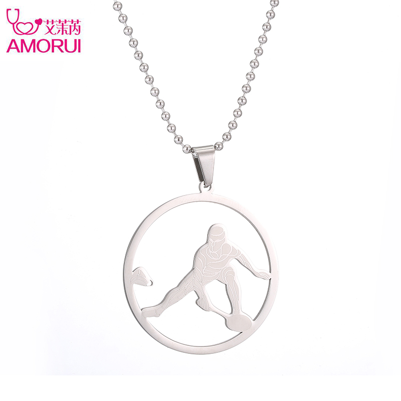 Women/Men Pendant Necklace Badminton Players Choker Statement Necklace Bead Chain Collares Mujer Jewelry Collier Femme Bijoux
