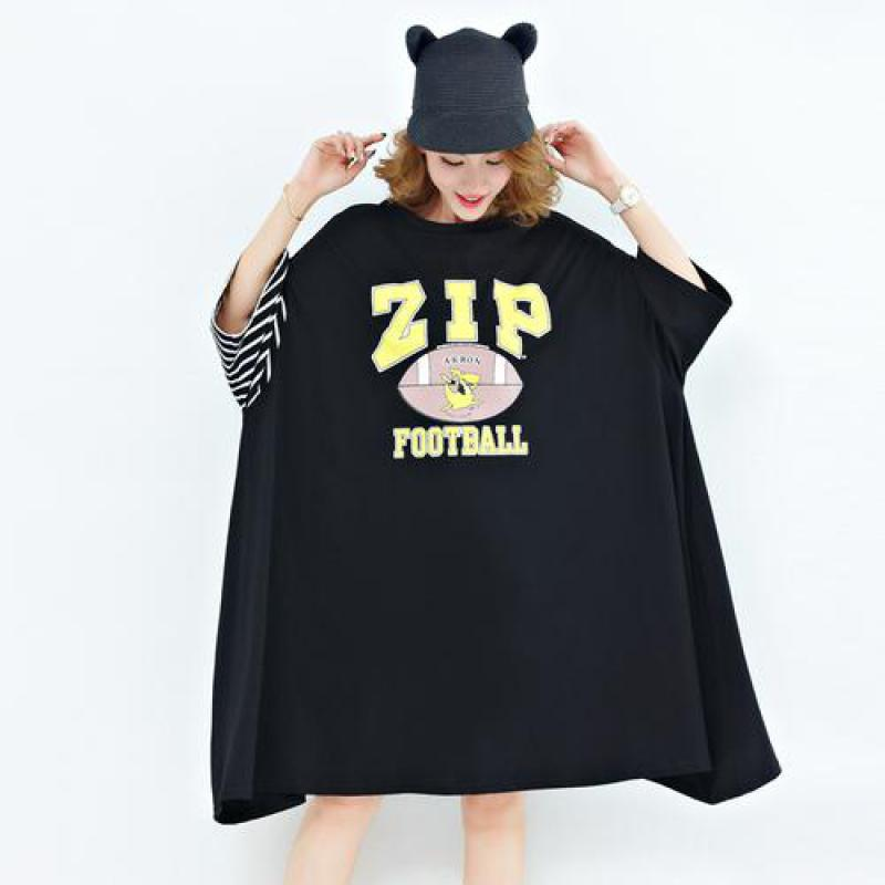 F&je Large Size Summer Women T-shirt Batwing Sleeve Patchwork Loose O-neck Tops Casual Print Swing Long Tee Shirt Plus Size X503