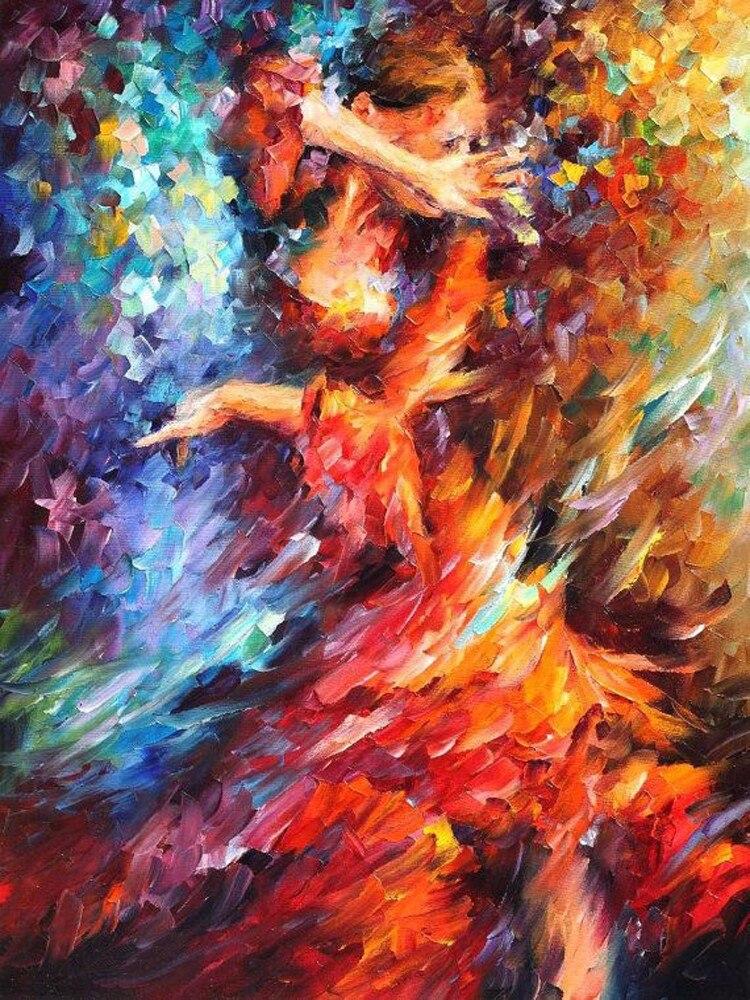 Online Shop Spanish Flamenco Dancer Hand Brunette Beauty Red Dress Flowers Free Shipping High Quality Oil Painting Handmade Knife