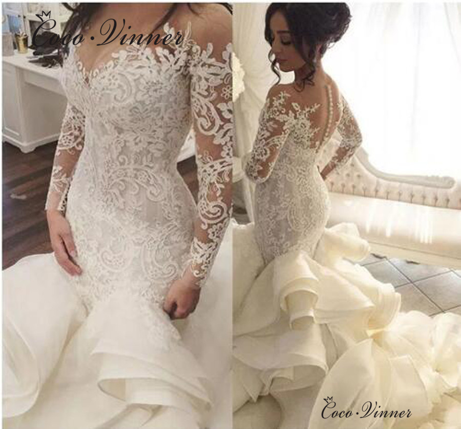 Us 13266 33 Offafrican Ruched Ruffles Mermaid Wedding Dresses 2019 New Long Sleeve Illusion Lace Appliques Brdal Gown Wedding Dresses W0422 In